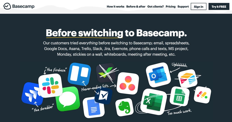 Basecamp Competitor Comparison Website