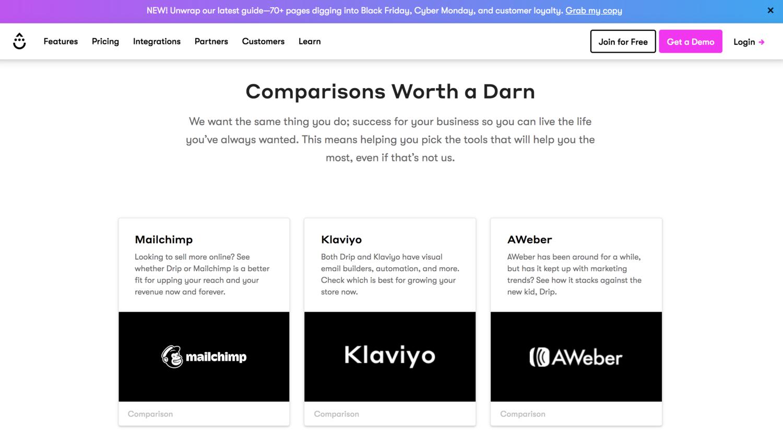 Drip Competitor Comparison Page